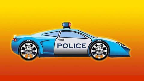 Dessin animé pour enfants où la voiture de police poursuit ...