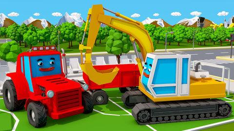 Dibujos Animados 3d De Coches Para Niños Presentando Al Tractor