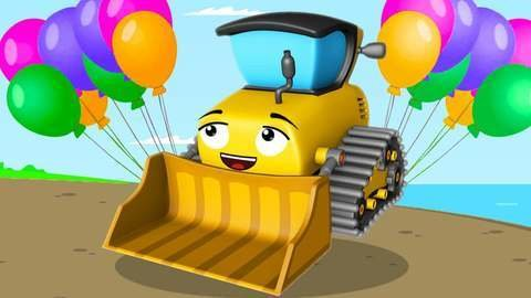 Excavator And Crane Find Balloons On A Treasure Chest In An Island