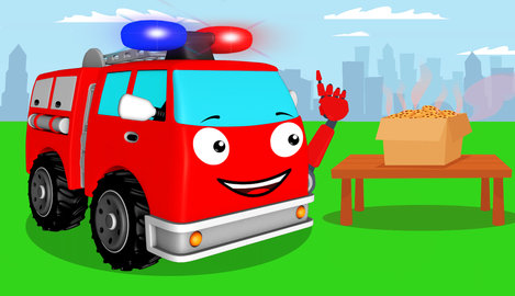 Zeichentrick über Ein Feuerwehrauto Und Einen Keks Für Einen Monster Truck