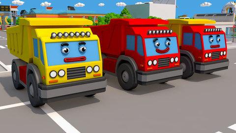El Excavador Amarillo Y El Camión De Volteo Rojo Aprenden A