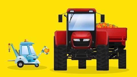 Roter Traktor Hilft Rennauto Aus Einer Grube Auto Zeichentrickfilm