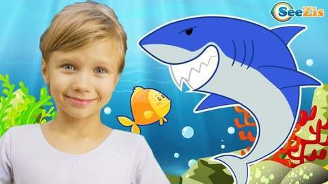 Baby Shark Children Song Shows Colorful Fishes And Colorful Sharks