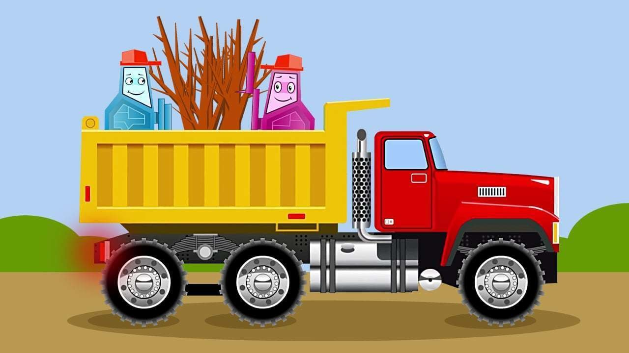 car cartoon for kids about robots truck excavator and springtime