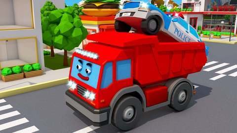 Red Garbage Truck Causes The Blue Police Car To Get Stuck In A Tree Car  Cartoon