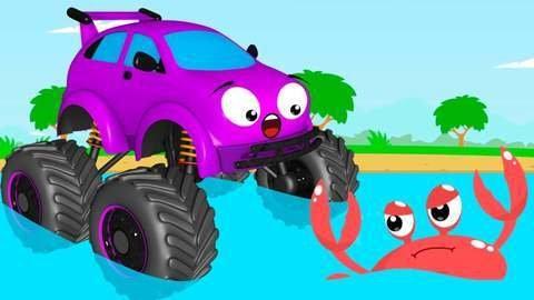 Une Voiture De Course Jaune Et Un Monster Truck Violet Font La